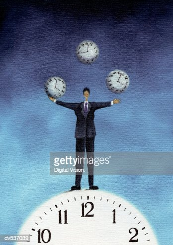 Businessman juggling clocks : Stock Illustration