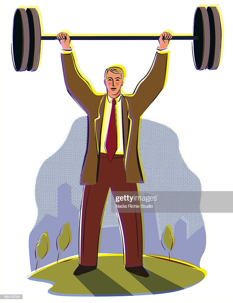 A businessman lifting a weight over his head with the city in the background : Stock Illustration