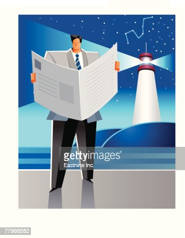 Businessman reading a newspaper with a light in the background : Vector Art