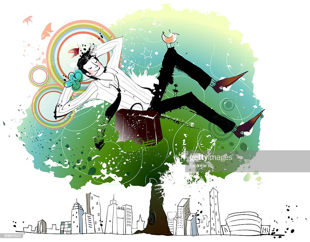 Businessman relaxing on tree : Stock Illustration