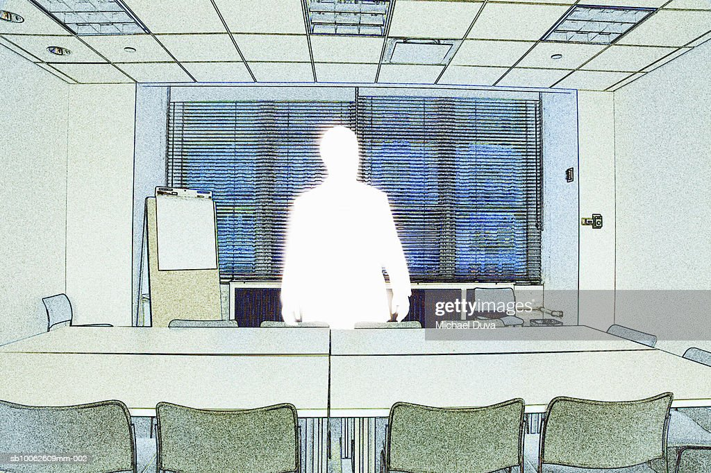 Businessman standing beside conference table : Stock Illustration