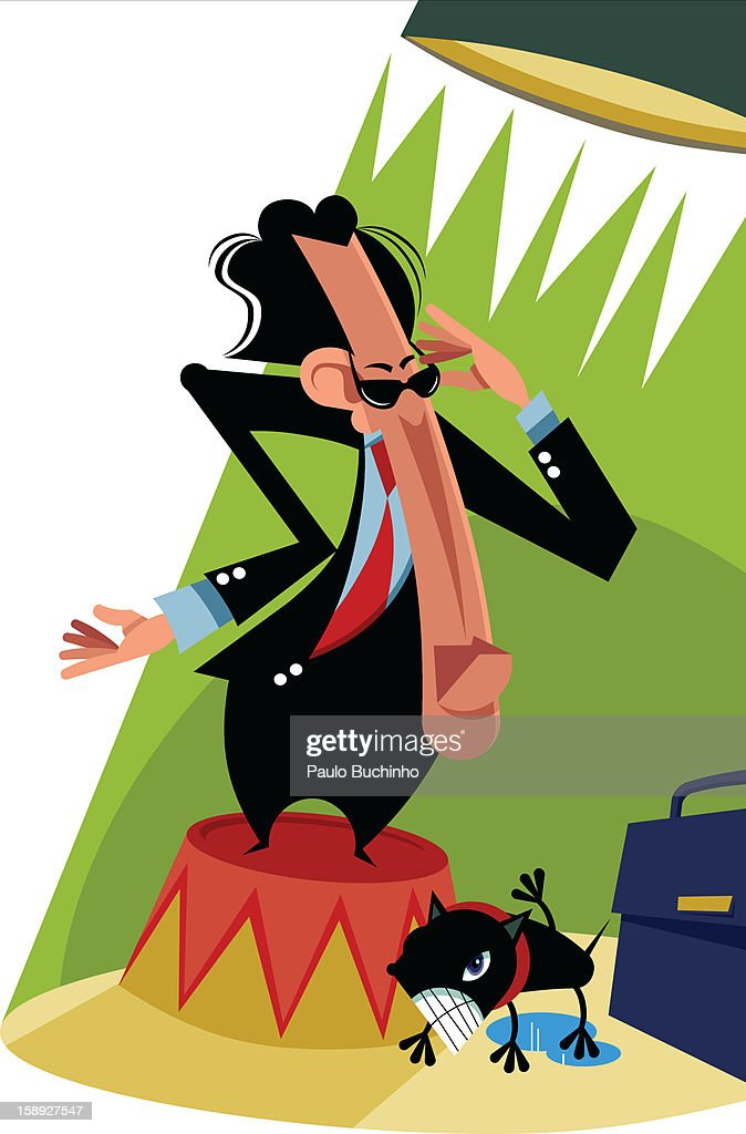 A businessman standing on a pedestal with a light shining on him : Stock Illustration