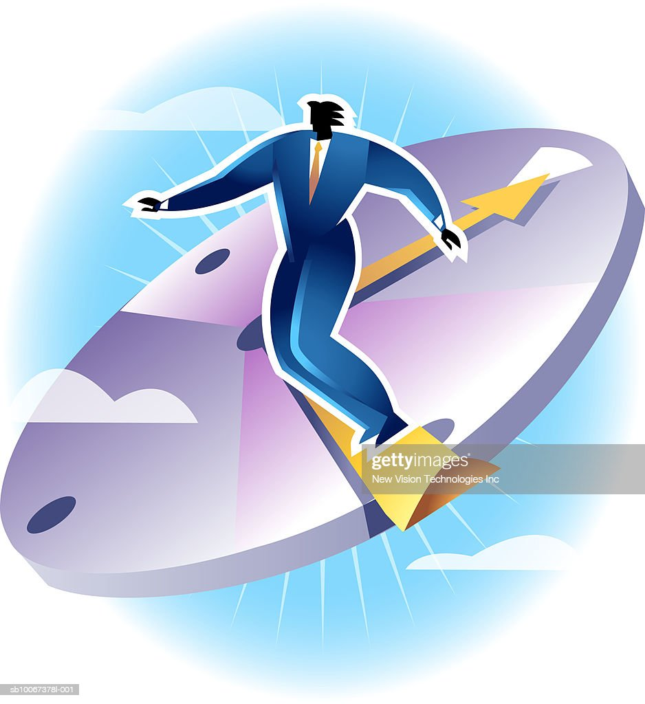 Businessman standing on clock : Stock Illustration