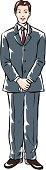 Businessman standing, portrait, front view