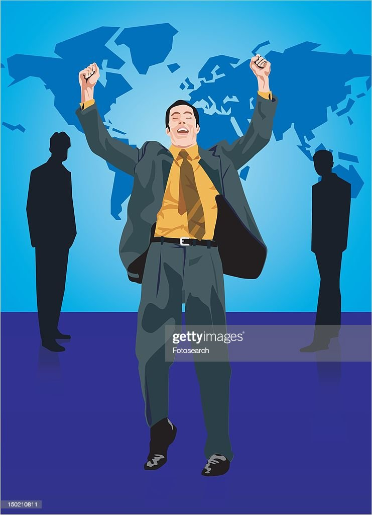 Businessman standing with his arms raised : Stock Illustration