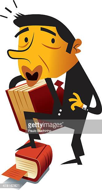 A businessman stepping on a book