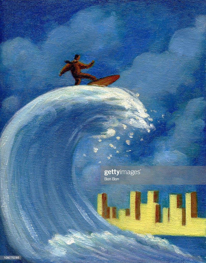 A businessman surfing : Stock Illustration