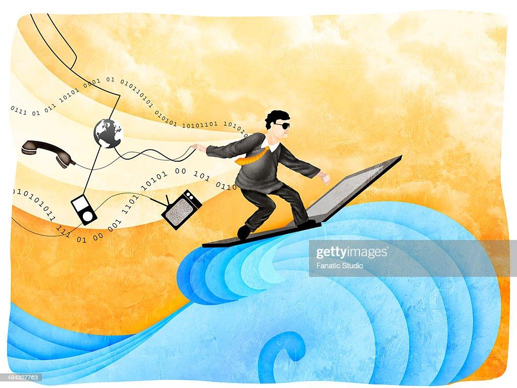 Businessman surfing the net : Stock Illustration