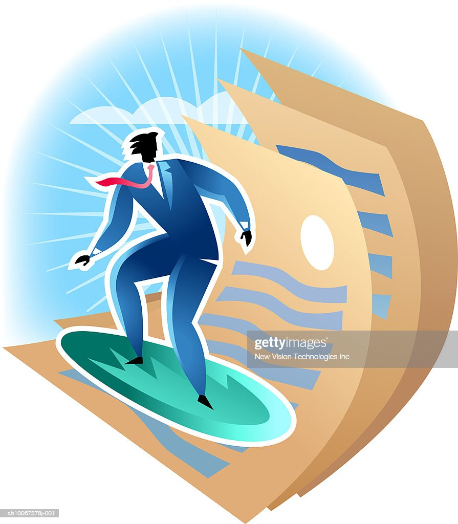 Businessman surfing with documents : Stock Illustration
