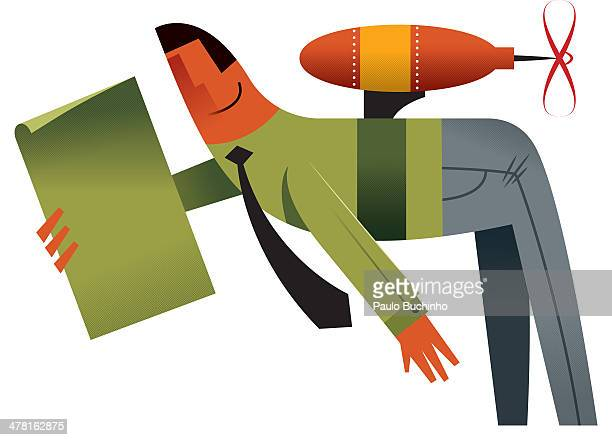 A businessman wearing a jetpack