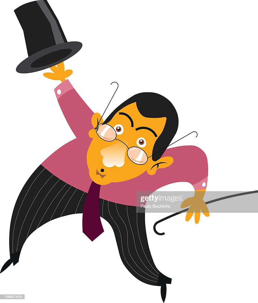 A businessman with a top hat and cane : Stock Illustration