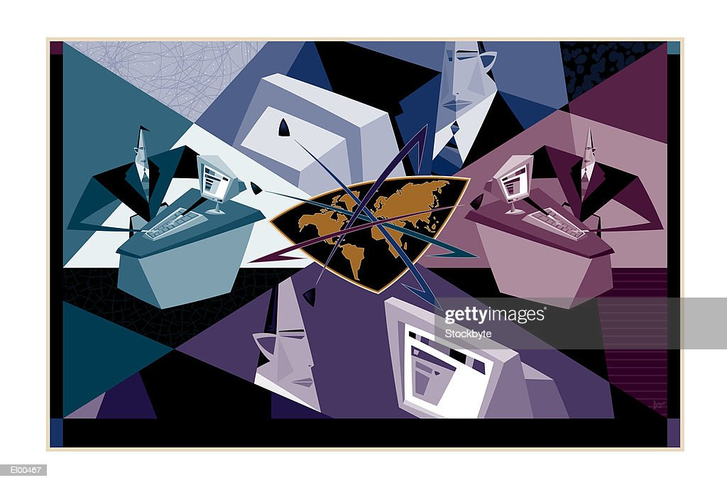 Businessmen in front of computers with stylized globe : Stock Illustration
