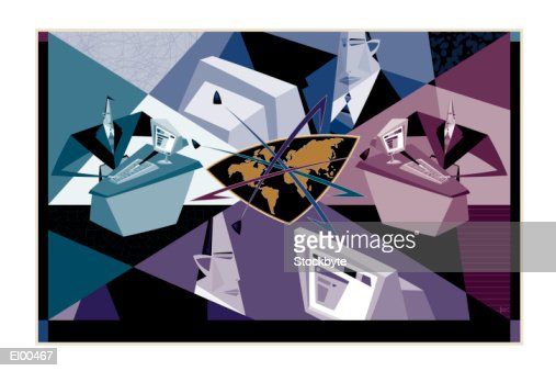 Businessmen in front of computers with stylized globe : ストックイラストレーション