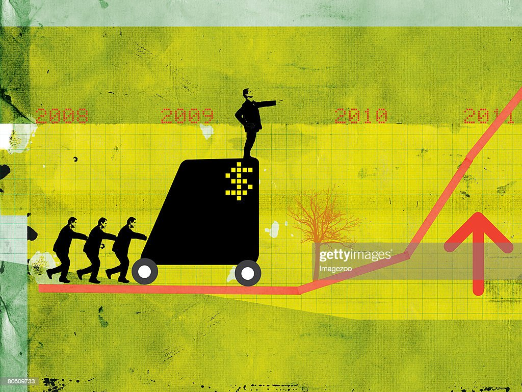 Businessmen pushing a man on a cart up a growth chart : Stock Illustration