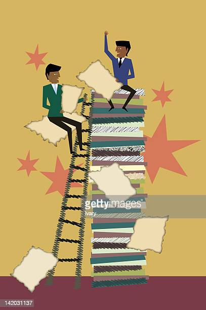 Businessmen Sitting On Stack Of File