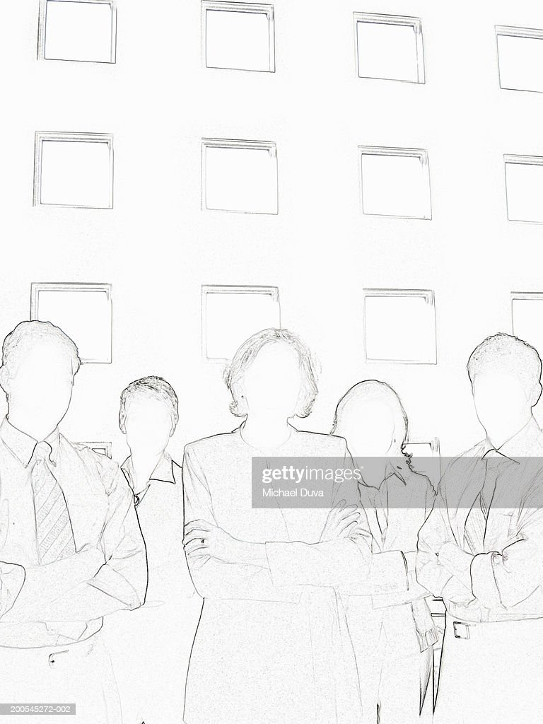 Businesspeople standing with arms crossed : Stock Illustration