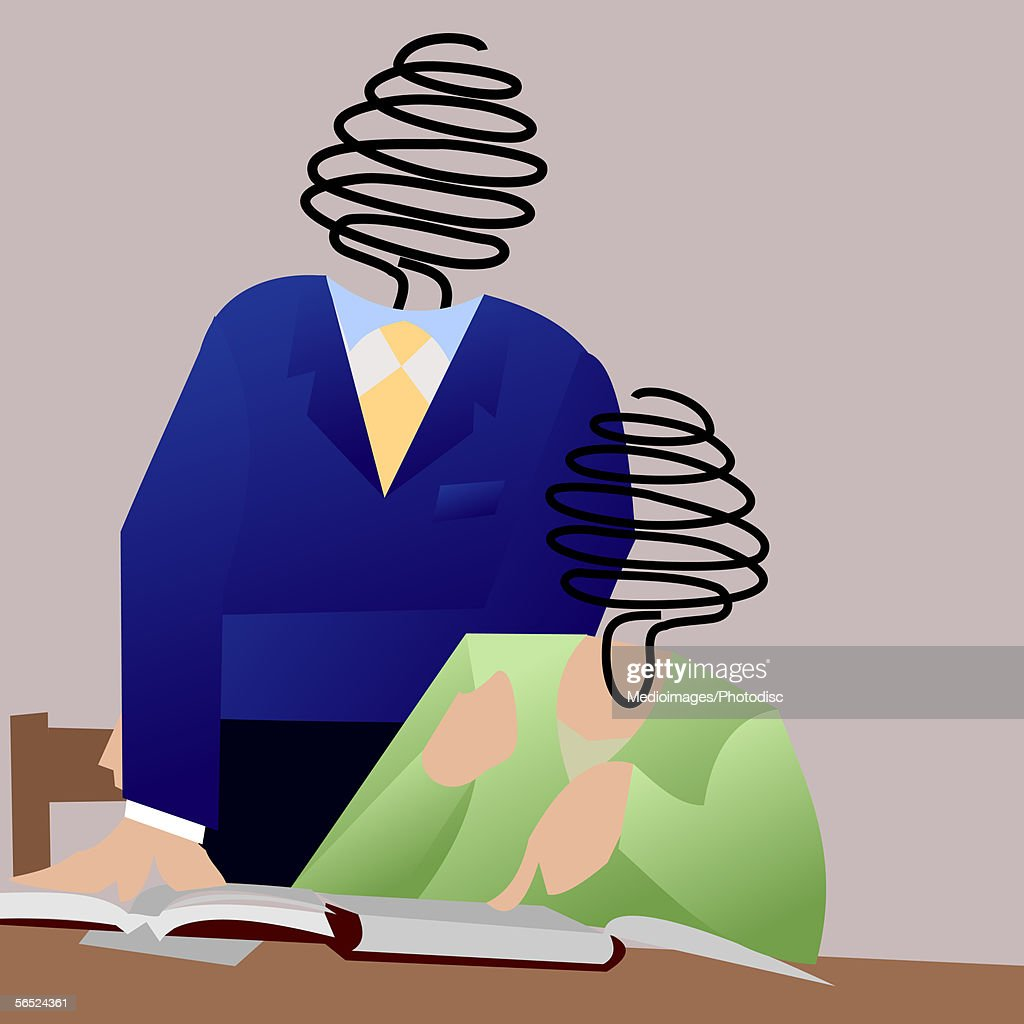 Businesswoman and businessman in an office : Stock Illustration