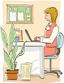 Businesswoman sitting at desk and using laptop, side view