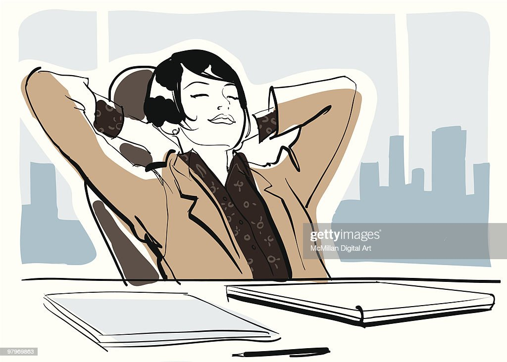Businesswoman with hands behind head, eyes closed : Vector Art