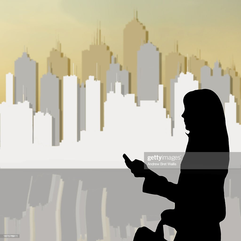 Businesswoman's outline against a city backdrop : Stock Illustration