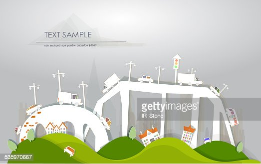 Busy roads, junctions and bridges 'White city' collection : Stock Illustration