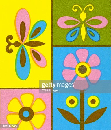 Butterfly and Flower Collage 2 : Stock Illustration