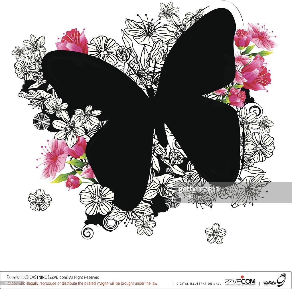 Butterfly shape with flora design : Vector Art