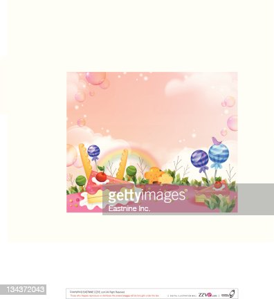 Cakes and Chocolate with flora  : Vector Art