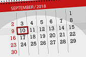 Calendar planner for the month, deadline day of the week 2018 september, 10, monday