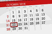 Calendar planner for the month, deadline day of week 2018 october, 22, monday