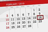 Calendar planner for month february 2019, deadline day, 16, saturday