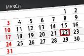 Calendar planner for month march 2019, deadline day, 22 friday