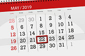 Calendar planner for the month may 2019, deadline day, 22 wednesday.