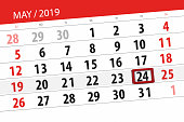 Calendar planner for the month may 2019, deadline day, 24 friday.