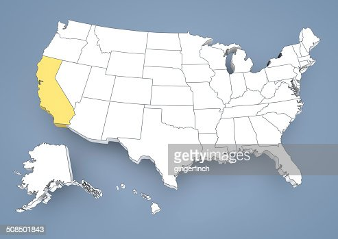 California Ca Highlighted On A Contour Map Of Usa United States Of - California on a us map