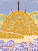 """""""Vector illustration of Calvary, or Golgotha, site outside walls of Jerusalem where Jesus was crucified."""""""