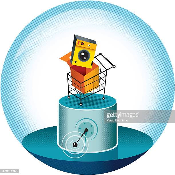 A camera in a shopping cart being prepared to sell online