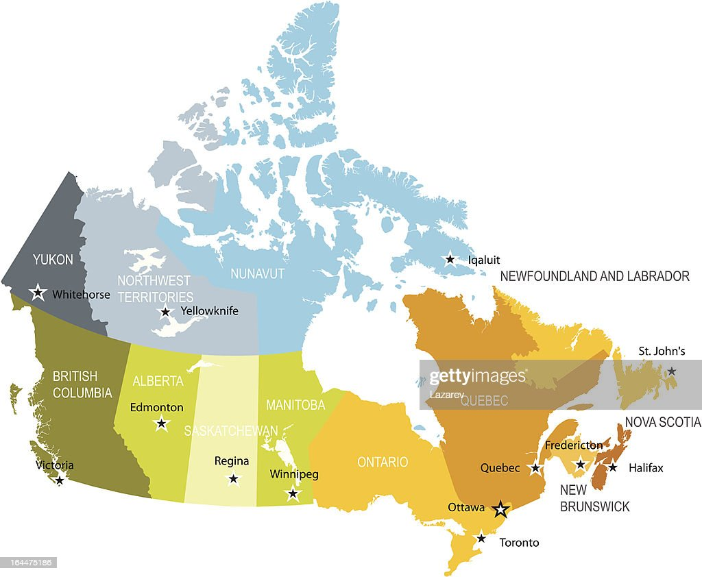 Canada Map Of Provinces And Territories Vector Art Thinkstock