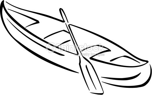 Canoe And Paddle Vector Art