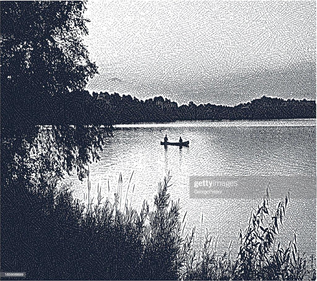 Canoeing and Fishing : Vector Art