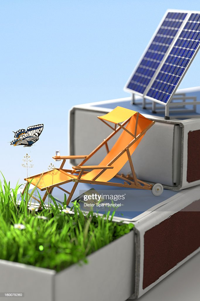 Canvas chair on matchboxes, grass and solar panels : Stock Illustration