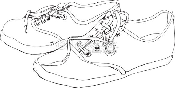 Contour Line Drawing Of Shoes : Canvas shoes sketch vector art thinkstock