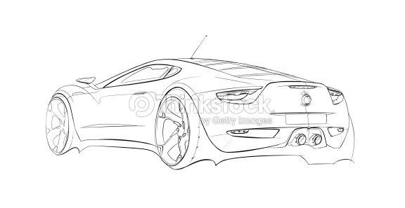 Product Design Line Art : Car concept line drawing stock illustration thinkstock