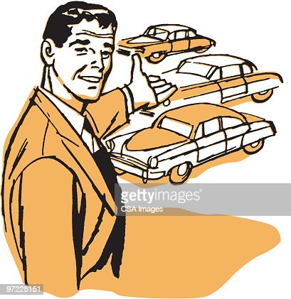 Car Salesman Showing His Products Stock Illustration Getty Images