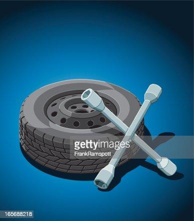 voiture changement de pneu clipart vectoriel getty images. Black Bedroom Furniture Sets. Home Design Ideas