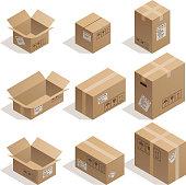 Set of nine isometric cardboard boxes isolated on white.