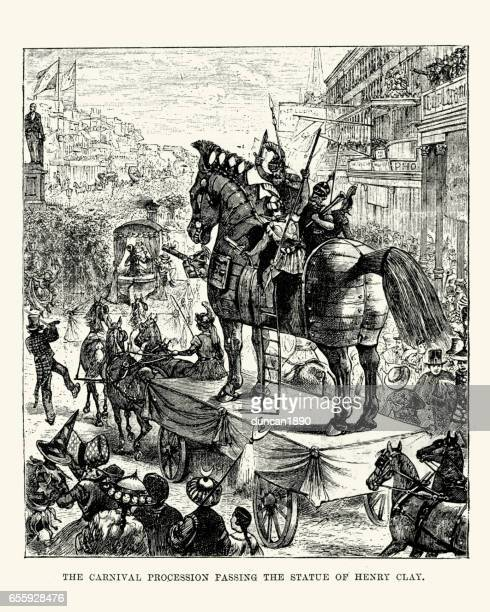 Carnival procession, New Orleans, 19th Century