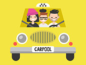 Carpool. Taxi service. Driver and passengers / flat editable vector illustration, clip art