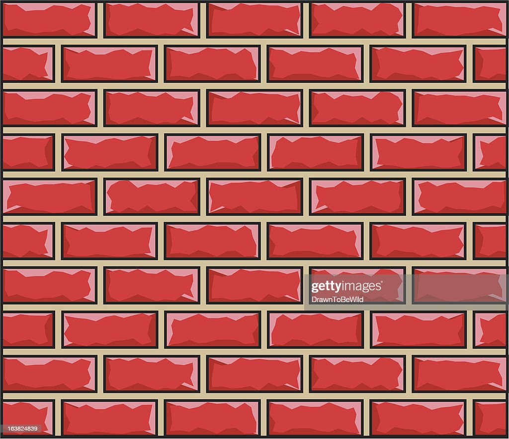 Cartoon Brick Wall Texture Pattern Vector Art