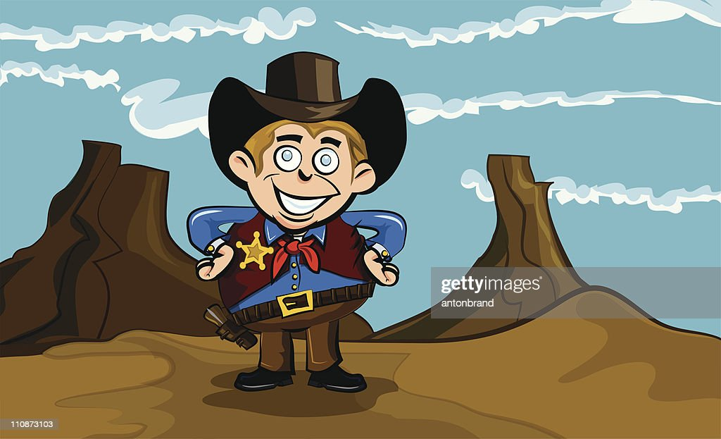 Cartoon cowboy in the desert : Vector Art